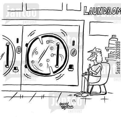 launderers cartoon humor: Lady Laundering Golf-balls