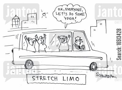 stretch limo cartoon humor: 'O.K, Everyone let's do some yoga!'