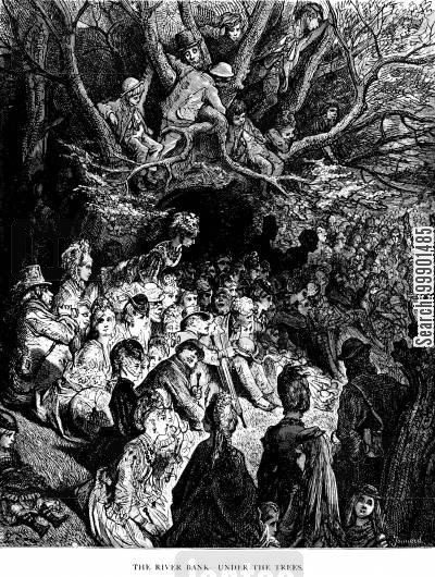 river bank cartoon humor: Oxford-Cambridge Boat Race, 1870 - Under the Trees at the River Bank