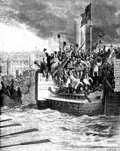 rower cartoon humor: Oxford-Cambridge Boat Race, 1870 - Barges Pursue the Crews