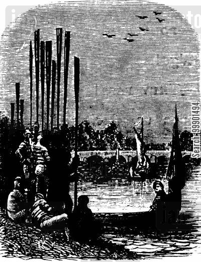 rower cartoon humor: Oxford-Cambridge Boat Race, 1870 - Crews before Boarding