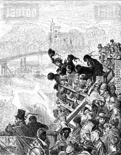 rowing boats cartoon humor: Oxford-Cambridge Boat Race, 1870 - Crowds on Putney Bridge