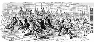 street urchins cartoon humor: Oxford-Cambridge Boat Race, 1870 - Urchins Cheer the Carriages Home