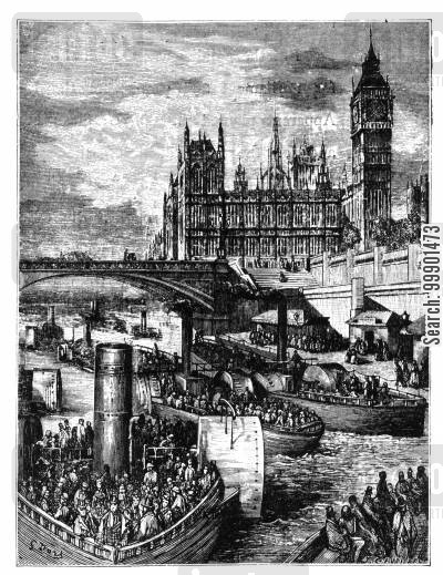 steam ship cartoon humor: Oxford-Cambridge Boat Race,1870-Scene at London Bridge