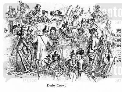epsom derby cartoon humor: The Crowd at Epsom Derby