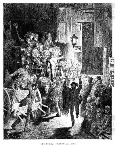 victorian omnibus cartoon humor: The Epsom Derby - Crowds return home in Omnibus from the Derby