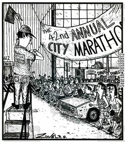 cheated cartoon humor: The 42nd annual City marathon (a guy in a car waiting for the start).