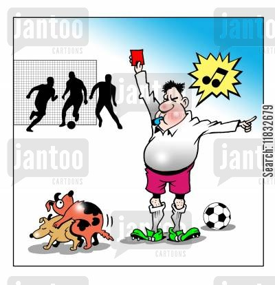 sent off cartoon humor: Red Card!