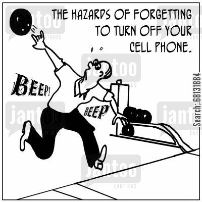 ten-pin bowling cartoon humor: The hazards of forgetting to turn off your cell phone,