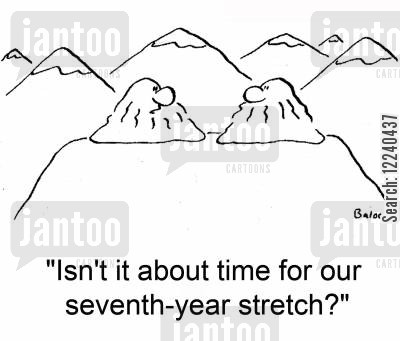 seven year stretch cartoon humor: 'Isn't it about time for our seventh-year stretch?'