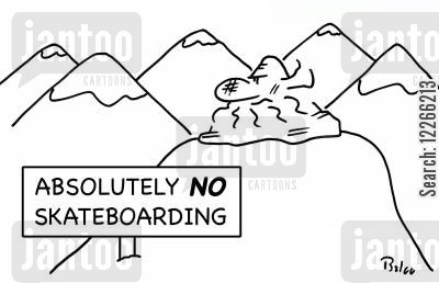 snowboarder cartoon humor: ABSOLUTELY NO SKATEBOARDING