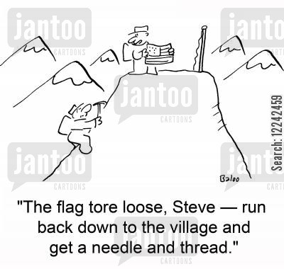climbing accident cartoon humor: 'The flag tore loose, Steve -- run back down to the village and get a needle and thread.'