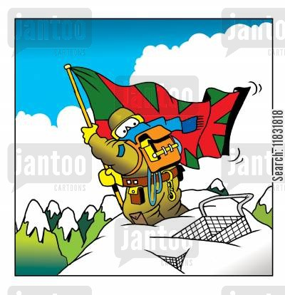 mountaineer cartoon humor: The shopping trolley up Everest.
