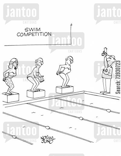 swimming race cartoon humor: Mermaid is participating in a swim competition