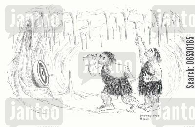 darts players cartoon humor: Cavemen playing darts.