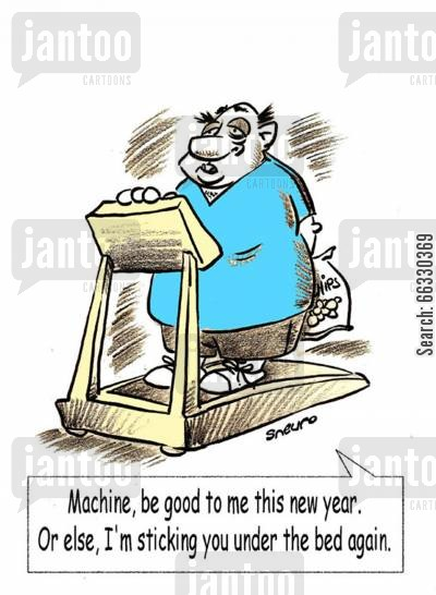 resolution cartoon humor: Machine, be good to me this year. Or else, I'm sticking you under the bed again.