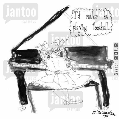 piano lesson cartoon humor: 'I'd rather be playing football.'