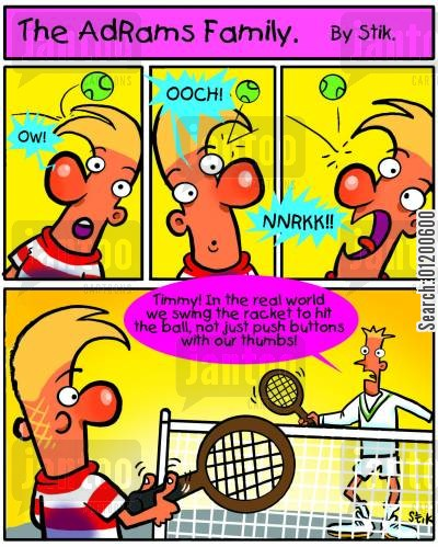 physical sports cartoon humor: The AdRams Family no.18 - Tennis skills