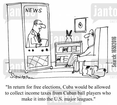 cuban cartoon humor: In return for free elections, Cuba would be allowed to collect income taxes from Cuban ball players who make it into the U.S. major leagues.