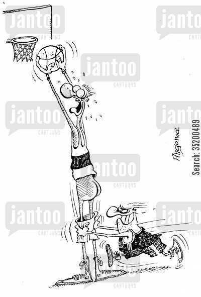team players cartoon humor: Short basketball player pulls down the shorts of the tall basketball player to prevent him scoring