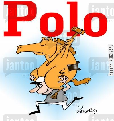 horse riders cartoon humor: Polo.