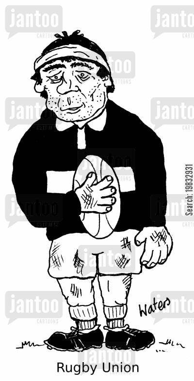 rugby games cartoon humor: Rugby Union.
