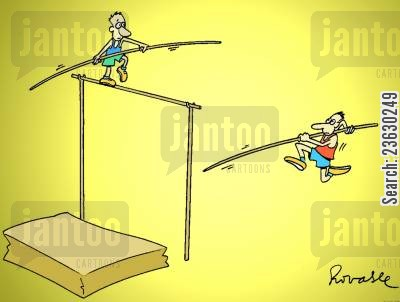 tight rope cartoon humor: Pole vaulter jumping over a tight rope walker.