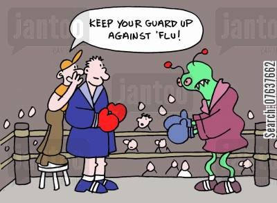cold viruses cartoon humor: 'Keep your guard up against flu.'
