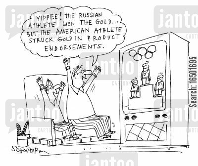 achieving cartoon humor: ...the American athlete struck gold in product endorsements.