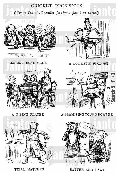 popular victorian sports cartoon humor: Cricket Prospects.