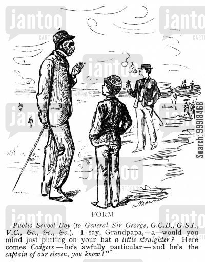 public school boy cartoon humor: Boy asking his Grandpa to straighten his hat as the school cricket team captain passes.