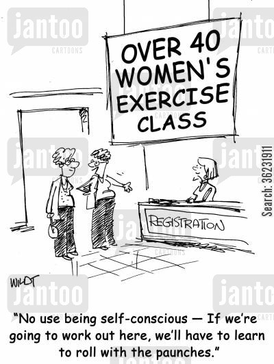 exercise classes cartoon humor: No use being self-conscious