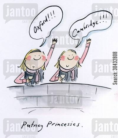 boat races cartoon humor: Putney Princesses.