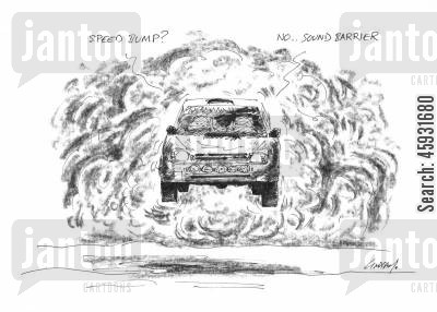 racing drivers cartoon humor: 'Speed bump ... no sound barrier.'