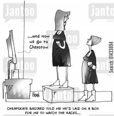 horse races cartoon humor: Cheapskate b*****d told me he'd laid on a box for me to watch the races.
