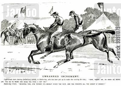unfair cartoon humor: Jockey giving instructions to indignant stable boy