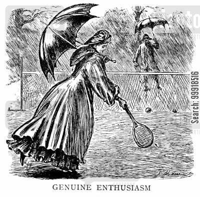 lawn tennis cartoon humor: 'Genuine enthusiasm'