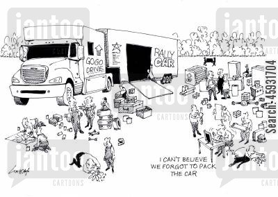 rally races cartoon humor: 'I can't believe we forgot to pack the car.'