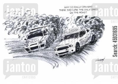 rally racer cartoon humor: 'Why do rally drivers think they are the only ones on the road?'