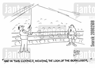 boxing announcers cartoon humor: 'And in this corner, wearing the look of the born loser...'