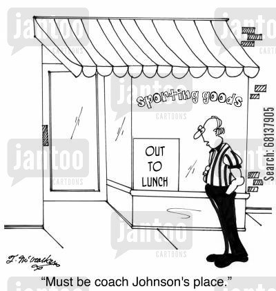 basketball coach cartoon humor: 'Must be coach Johnson's place.'