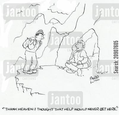 mountain rescue cartoon humor: 'Thank heaven. I thought that help would never get here.'