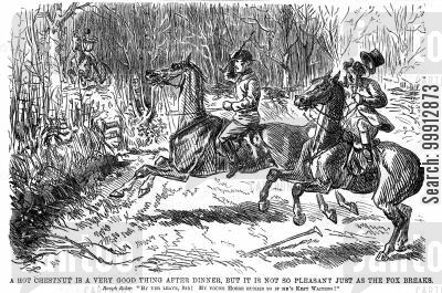 huntsmen cartoon humor: Excitable horses in a fox hunt