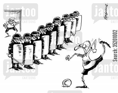 penalties cartoon humor: Riot police defending a penalty shot.