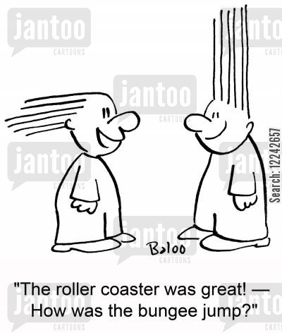 roller coasters cartoon humor: 'The roller coaster was great! -- How was the bungee jump?'