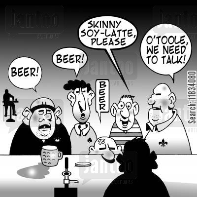 beer cartoon humor: 'Skinny soy-latte, please.'
