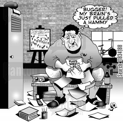 rwc cartoon humor: 'Bugger! My brain's just pulled a hammy.'