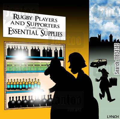 rugby matches cartoon humor: Rugby Players and Supporters Essential Supplies