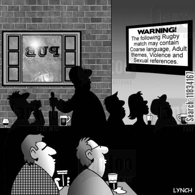 rugby matches cartoon humor: Warning: the following rugby match may contain course language, adult themes...