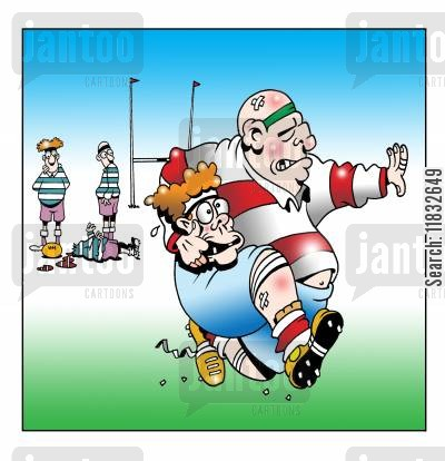 sporting injury cartoon humor: Rugger.